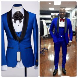 Wholesale Customize Blue Shawl Lapel One Button Wedding Groom Tuxedos Men Suits Wedding Prom Dinner Best Man Blazer Jacket Tie Vest Pants