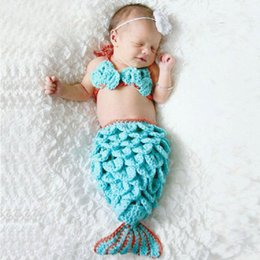 CroChet mermaid baby outfit online shopping - Newborn Baby Crochet Mermaid Tail Photography Props Girl Toddler Mermaid Costume Outfits Handmade Cocoon SG025