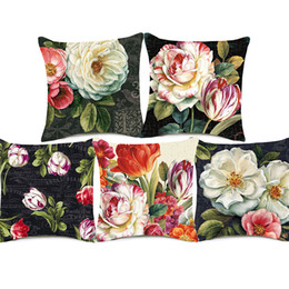 $enCountryForm.capitalKeyWord UK - 8 Styles Oil Painting Floral Flower Cushion Covers Beatuful Pastoral Vintage Flowers Tulip Camellia Cushion Cover Sofa Linen Pillow Case