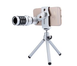 Tripod TelephoTo online shopping - Newest Metal X Magnification Zoom Optical Lens Mobile Phone Telephoto Telescope Camera Lens Zoom cellphone lens With Clip Tripod