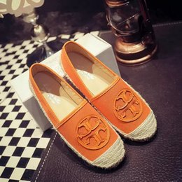2018 Designer Designer Luxe Toile Pêcheur Chaussures À La Main À Semelle De Paille Chaussures Plate Femmes Chanvre Mocassins Chaussures Espadrilles Taille: 35-39 L-92 en Solde