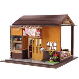 ship doll wood houses NZ - Japanese Zakka Style Sakura Sushi Bar Dollhouse with Furniture, Novelty DIY Wooden Doll House Assembling Toy Free Shipping