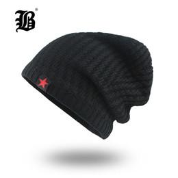 7192e94c8b738 knit black hat red star 2019 -  FLB  Mens Skullies Winter Hat Beanies  Knitted