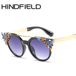 womens black cat eye sunglasses 2020 - Hindfield Sunglasses Womens Vintage Cat Eyeglass Double Beam Sunglasses Ladies Retro UV400 feminino O699 cheap womens bl