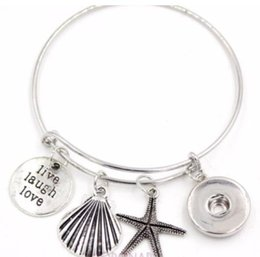 shell snap button NZ - Sea Shell Starfish Snap Button Charm Wire Expandable Bangles Vintage Silver Cuff Bangles For Women Jewelry Fashion Couple Gift Accessories