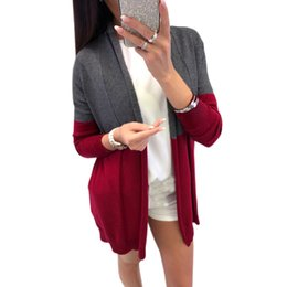 women s short winter jackets UK - Autumn Jackets Grey Open Stitch Overcoats Wine Red Outfit Casual Tops Plus Size Women Winter Warm Coats Blends Long Sleeve Sexy