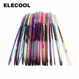 Nail Striping UK - ELECOOL 30 colors Mixed Colorful Beauty Roll Ribbon Decorations Striping Decals Foil Tips DIY Nail Art Design Nail Stickers Tool