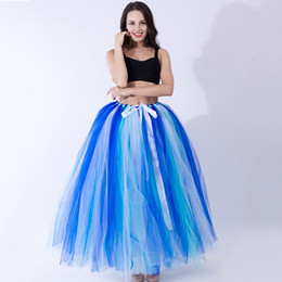 bridesmaid tutus UK - Colorfull long gauze tutu skirt for ballet dance performance class for adults party dress bridesmaid skirt free size