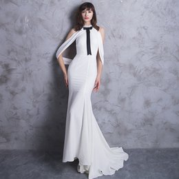 $enCountryForm.capitalKeyWord NZ - Elegant White Taffeta Prom Party Dress O-Neck with Beading Sequined Bow Off the Shoulder Backless Lace Up Fishtail Mermaid Court Train