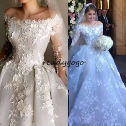 $enCountryForm.capitalKeyWord NZ - Long Sleeve Puffy Skirt Wedding Dresses 2019 Lace Applique Beaded 3D Floral Cathedral Train Dubai Arabic Wedding Bridal Gown
