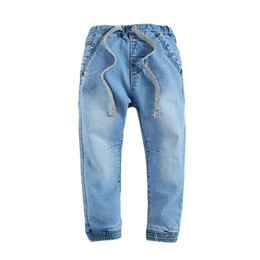 568beee79057 Children boys Jeans pants with fleece inside for cold winter baby jean  drawstring hot selling kids clothing trousers pant 2-7T