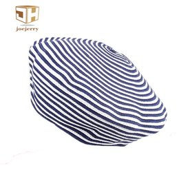 joejerry Cute Felt Blue Striped Beret Women Adjustable Painters Beret Caps  Knitted French Style Hats For Autumn Winter 2017 1ecba67700cf
