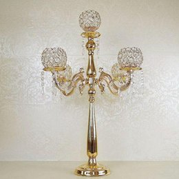 $enCountryForm.capitalKeyWord NZ - 75cm Height 5-arms Metal Gold Plated Crystal Candelabras Candle Holder Wedding Party Decoration Romantic Candlelight ZA3889