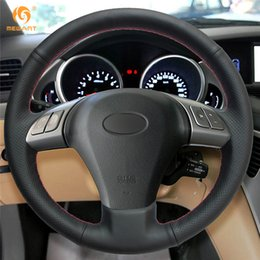 $enCountryForm.capitalKeyWord Canada - 1 MEWANT Hand Sewing Black Artificial Leather Car Steering Wheel Covers Wrap for Subaru Tribeca 2007-2011
