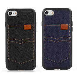 cell phone jeans NZ - Denim Cowboy Back Case For iPhone 7 6 Plus With ID Card Slot Flip Covers Cell Phone With Jean Cloth TPU Cases For Iphone 5 Cool Style