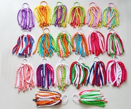 tassels hair NZ - 50 pcs 7 inch curl tassel ribbon korker ponytail holders streamer pony corker hair bows with elastic hair bobbles Xmas accessories PD002