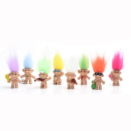 Diy Boys Toys UK - 8pcs lot Colorful Hair Troll Doll Family Members Dad Mum Baby Boy Girl Dam Trolls Toy Gift Happy Love Family