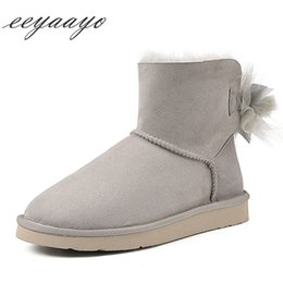 Shearling Boots Australia - 2018 New Winter Shearling Women Ankle Boots Flats Heel Warm Wool Lining Real Sheepskin Fur Women Shoes Gray Short Snow Boots
