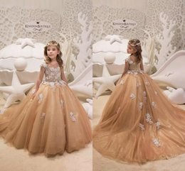 2cb9b8c12365 Party wear gowns sleeve PurPle color online shopping - Gold Princess Flower  Girl Dresses Jewel Neck