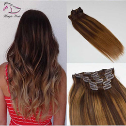Clip Highlighted Hair Pieces NZ - Balayage #2#6 Highlight Color Silk Straight 7Pcs 120g Clips In Hair Extension Brazilian Human Hair extension