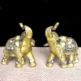 Discount miniature plastic plants - Q -Glory 2pcs Lucky Golden Elephant Decorative Figurine Resin Elephant Figures Home Decoration Accessories Miniature Gar