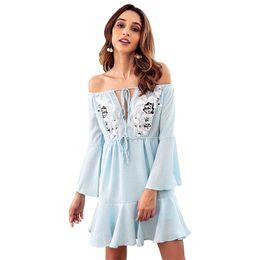 372273922 Hopeforth mujeres de moda vestidos casuales con cuello en V vestido de gasa  con volantes vestido de la falda Sexy vestidos casuales