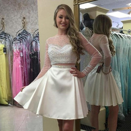 white homecoming dress rhinestones NZ - Charming White Long Sleeve Homecoming Prom Dresses Illusion Sheer Neck A line Two Pieces Bling Crystal Rhinestones Graduation Party Dresses