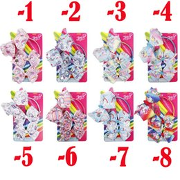 Hair Clip Cards NZ - unicorn Jojo bow set 3 set + paper card logo new heat transfer unicorn headband children hair clip hair accessories wholesale headwear