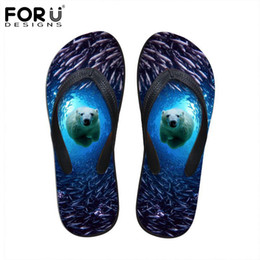 3d slippers Canada - FORUDESIGNS 2018 Summer Women Flip Flops 3D Blue Sea Animals Dolphin Printed Rubber Flipflops Fashion Woman Beach Slippers Shoes