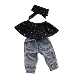 Chinese  New 3Pcs Ripped Kids Baby Girls Summer Dot Sleeveless Top +Hole Jeans +Headband 3pcs Clothes manufacturers