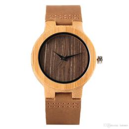 0b6d497d9e86 Classical Bamboo Wooden Watch Couples Clock Man Ladies Quartz horloge  Genuine Leather Band Nice Women Men luxury Valentines Gift