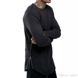 $enCountryForm.capitalKeyWord Australia - New Trends Men T shirts Super Longline Long Sleeve T-Shirt Hip Hop Arc hem With Curve Hem Side Zip Tops tee