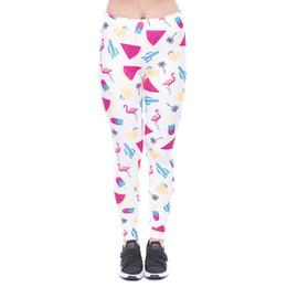 e2414301d40a6 Women Leggings 80's Sweets Flamingo Watermelon 3D Print Girl Skinny  Stretchy Pencil Pants Yoga Capris Trousers New (YX52077)
