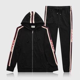 M-3XL Mens Carta de Treino de Luxo Ternos Casuais Hoodies + Calças Primavera Outono Zipper Kits Sports Running Treino Preto Cinza em Promoção