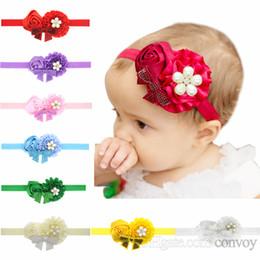 Hair rosettes online shopping - Baby Girls Headbands bows infants Hairbands Newborn Baby Headbands Flowers Children Kids Hair Accessories satin rosette fabric Bands KHA144