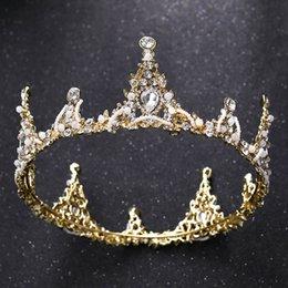 Принцесса день рождения Корона тиара для девушки роскошный золотой горный хрусталь Корона для невесты оголовье ювелирные изделия аксессуары для свадьбы