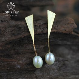 925 China Pearls Australia - Lotus Fun Real 925 Sterling Silver Natural Pearl Creative Handmade Fine Jewelry Special Triangle Drop Earrings for Women Brincos D1892903