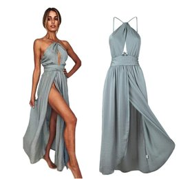 China Sexy Simple Bohomian Bridesmaid Dresses Halter Side Slit High Split Beach Wedding Maid of Honor Gown Formal Evening Party Dress BM0231 cheap halter line beach wedding dress suppliers