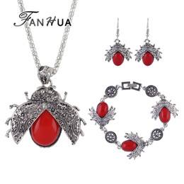 fanhua jewelry UK - FANHUA Vintage Jewelry Sets Antique Silver Color with Red Blue Black Beads Bee Pendant Necklace Drop Earrings and Bracelet