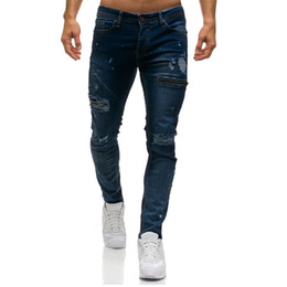 New Ripped Jeans For Mens Skinny Denim Stylish Zipper Jeans Casual Holes Denim Pants Drop Shipping