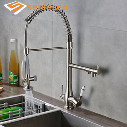 kitchen faucet pull NZ - Senlesen Kitchen Faucet Pull Down Brass Sprayer Vanity Sink Hot adn Cold Water Mixer Tap Dual Handles Para Kitchen Brass Faucets
