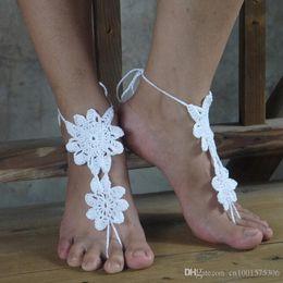 $enCountryForm.capitalKeyWord Australia - Wedding Lace shoes, windmill propeller Crochet Barefoot Sandals, Women Sexy Beach Nude shoes Custom 13 Color..