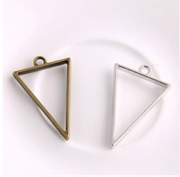 glue for jewelry making UK - 100Pcs alloy Triangle charms Hollow glue blank tray bezel Setting Antique silver Charms Pendant For Jewelry Making findings 39x25mm