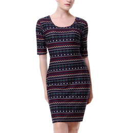87faf4cf5098 2018 Vintage Women Printed O Neck Midi Dress Retro Pattern Half Sleeve  Bodycon Dress Casual Summer Ladies Party Sheath Dress