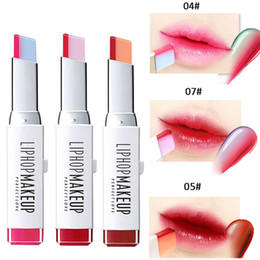 Discount bite lip color 2017 New Fashion Hit Color Lipsticks Cosmetics Waterproof Long Lasting Red Pink Double Color Korea Bite Lips Makeup Kit