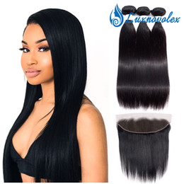 $enCountryForm.capitalKeyWord Australia - Malaysian Straight Hair Bundles With Frontal 100% Unprocessed Brazilian Human Hair Weave Bundles With 13X4 Frontal Closure Natural Color