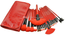 24 make up brush UK - Red Professional 24 Pcs Makeup Brush Set Tools Make-up Toiletry Kits Wool Brand Make Up Brush Set Case Brand Makeup Brushes 1set