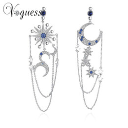wholesale Luxury Crystal Cz Drop Earrings Cute Moon Star Earrings Fashion  Asymmetric Pendant Earrings For Women Pendientes 52b45e20b719