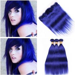 dark blue human hair weave 2019 - Virgin Brazilian Pure Blue Human Hair Bundles with Lace Frontal 13x4 Straight Dark Blue Ear to Ear Full Lace Frontal Clo