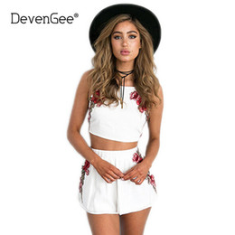 white floral shorts Canada - wholesale Sexy Summer Beach Two Piece Set Women Floral Embroidery Vintage Crop Top Shorts Skirt Set White Black 2 Piece Outfits